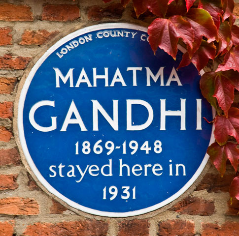 Mahatma Gandhi plaque at Kingsley Hall, Powis Road, Bromley-by-Bow
