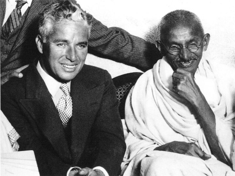Gandhi meets with Charlie Chaplin, London, September 22, 1931. Photo: Wikimedia Commons