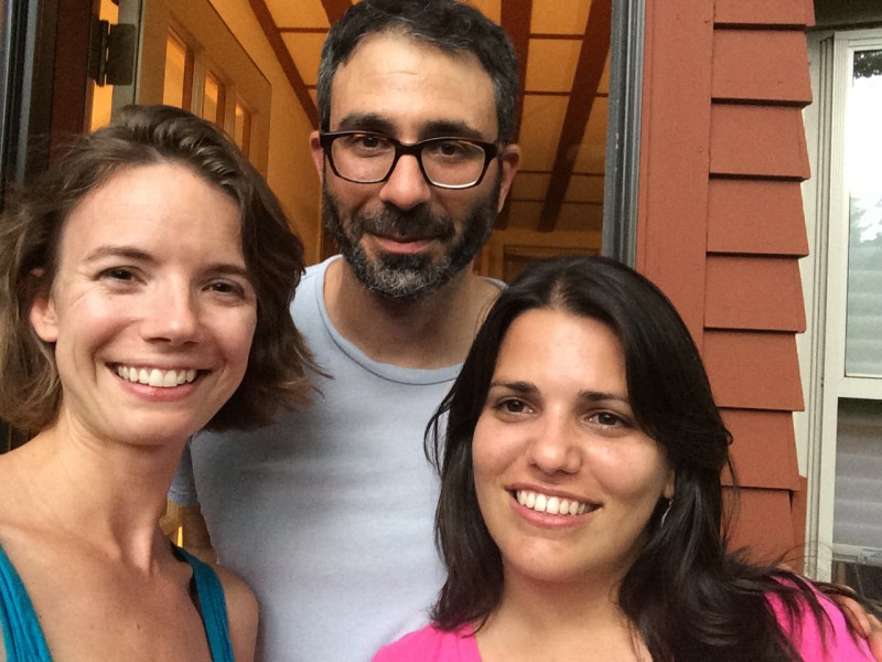 Elaine Diaz, Ellery Biddle and Ivan Sigal group selfie, in Cambridge Massachusetts for a Global Voices meetup.