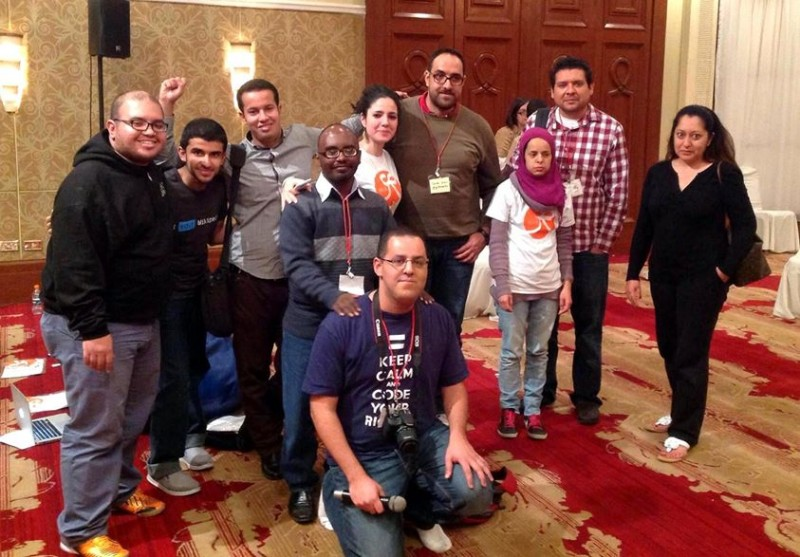 Ahmed and I and many other GVers during the AB14 in Amman !!! in a photo widely shared by the participants