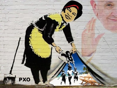 The Philippine social welfare secretary is depicted as hiding homeless children during the Papal visit in the country.