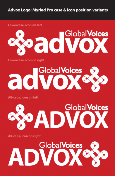Our set of final choices for the Advox logo, all set in Myriad Pro.