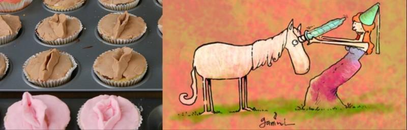 Vagina cupcakes by Philippa Willitts; cartoon by Gustavo Garrincha.