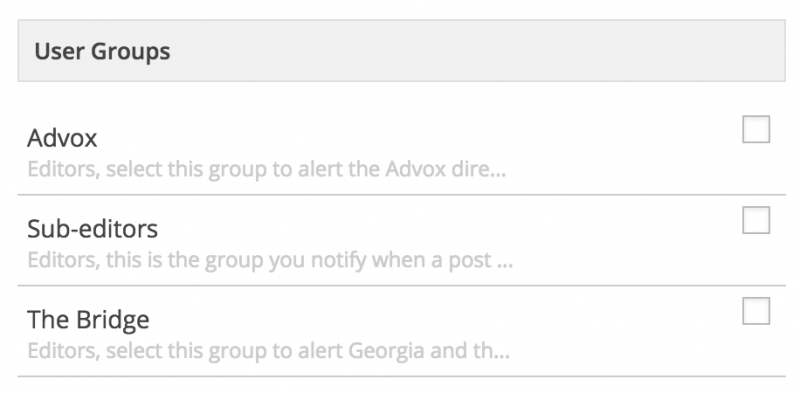 User Groups list inside the Notifications box at the bottom of the post editor.