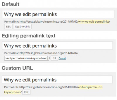 Steps to edit a permalink.