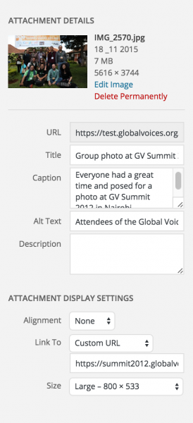 Settings in the upload popup for an image that will be shown at Large size with no alignment (full-width).