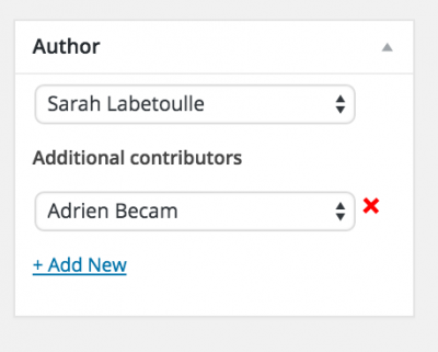 Author box in post editor showing a second contributor.