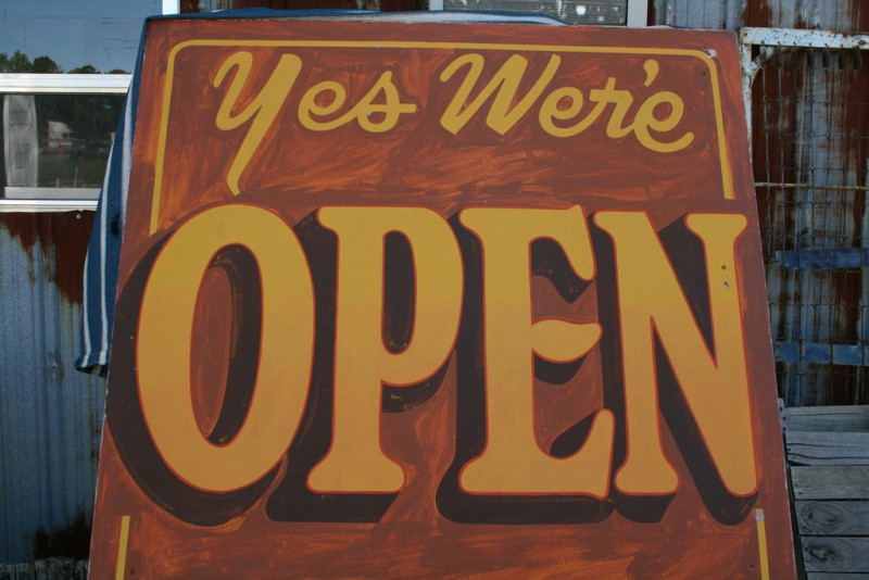 Yes, we're open. Photo by Shawn Rossi (CC BY 2.0)