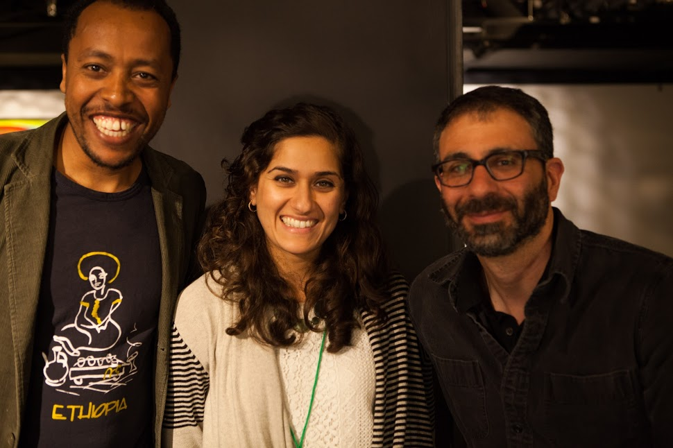 Endalk, Sahar and Ivan at the CPJ securing the Newsroom Summit in San Francisco. June 19, 2015. Photo by Geoff King, CPJ.