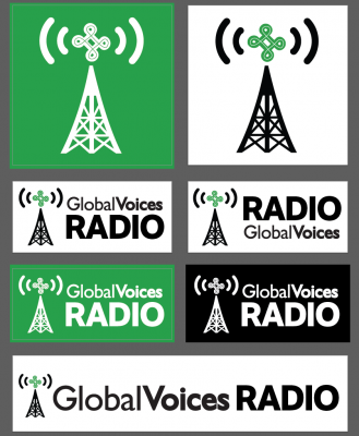 Various formats and alternate versions of the GV Radio branding.