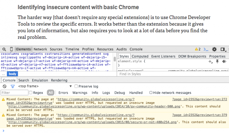 Mixed Content errors in the Chrome Console