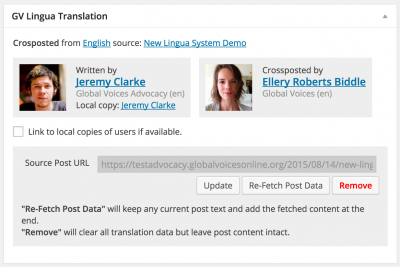 screenshot of lingua metabox showing crosspost credits
