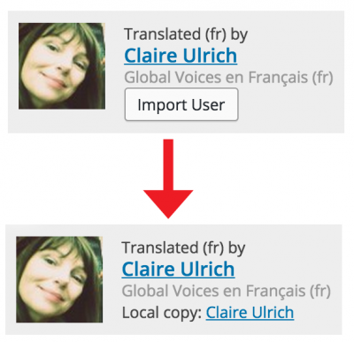 Before and after importing a user in the post editor