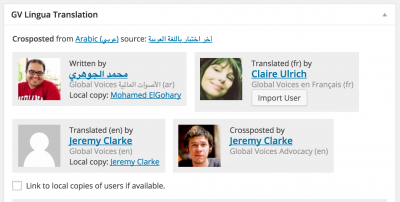 "Translation credits in post editor showing the ""local matching user"" links for Jeremy and Mohamed, who have accounts on both the translation (current) site and the source site."