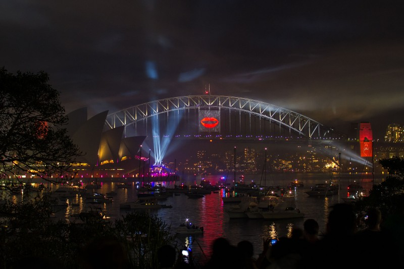 Sydney Harbour at night during New Year's Eve celebrations in 2012/2013. Photograph by ТимофейЛееСуда used under CC BY 2.0
