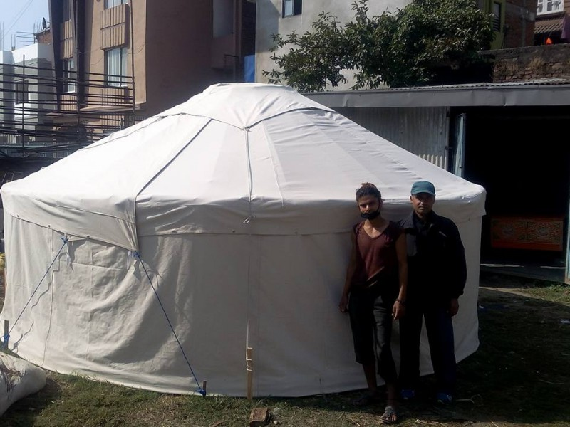 A bamboo yurt built by Alison's team in Kathmandu. Photo from Bamboo Yurts for Nepal Facebook page.
