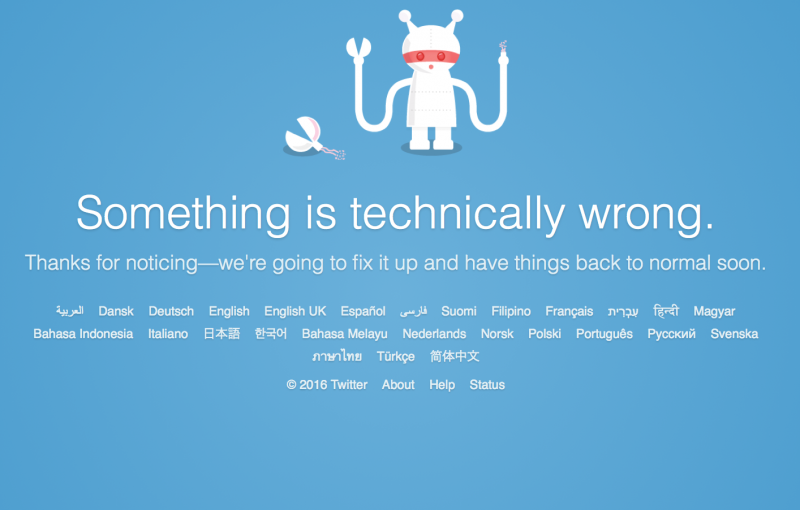 Twitter's failbot: Twitter has been down worldwide and there's no news when it will be up and running again