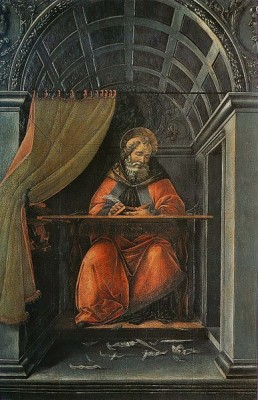 St. Augustine writing, revising and rewriting. Photographic reproduction of a public domain work of art by Sandro Botticelli (1445–1510).