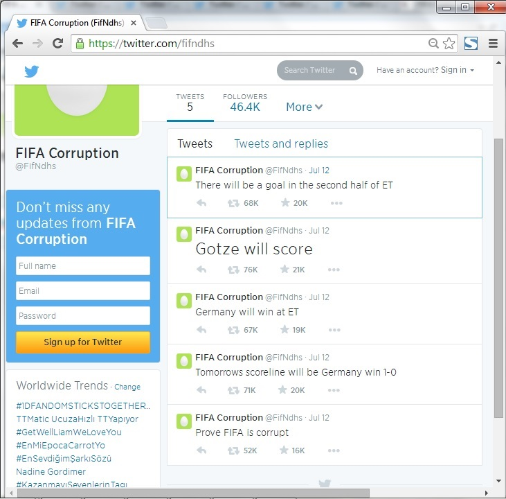 "Screen shot of now defunct ""FIFA Corruption"" Twitter profile."