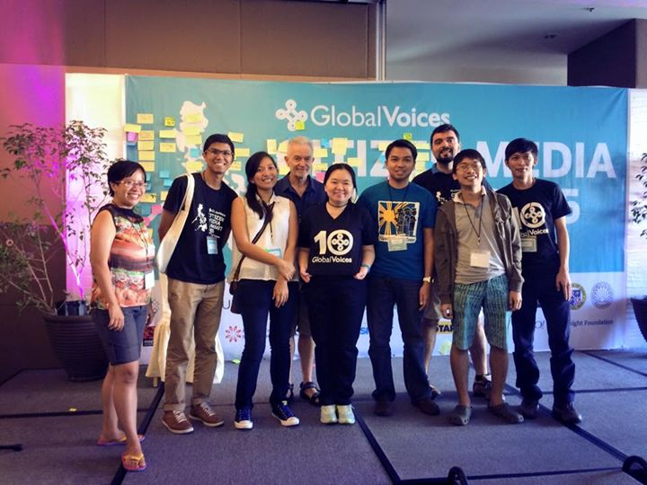 Members of the Southeast Asia team of Global Voices during the 2015 Cebu Summit.