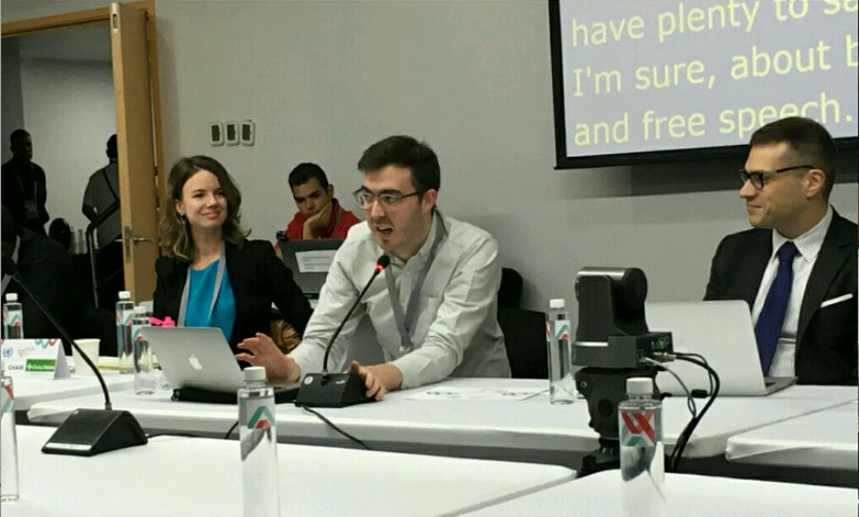 Ellery (Advox director), Jonathan McCully (attorney with Media Legal Defence Initiative), and Marcel Leonardi of Google Brazil. Photo via IMS.