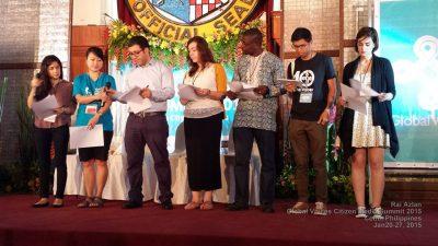 Lecture des déclarations pour les blogueurs emprisonnés - avec Arzu Geybullayeva, Jannie Lung, Mohamad Najem, Laura Vidal, Nwachukwu Egbunike et Thant Sin à Cebu City, Philippines. (Crédit photo: Rai M Azlan)
