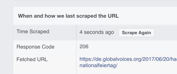 screenshot of sharing debugger site