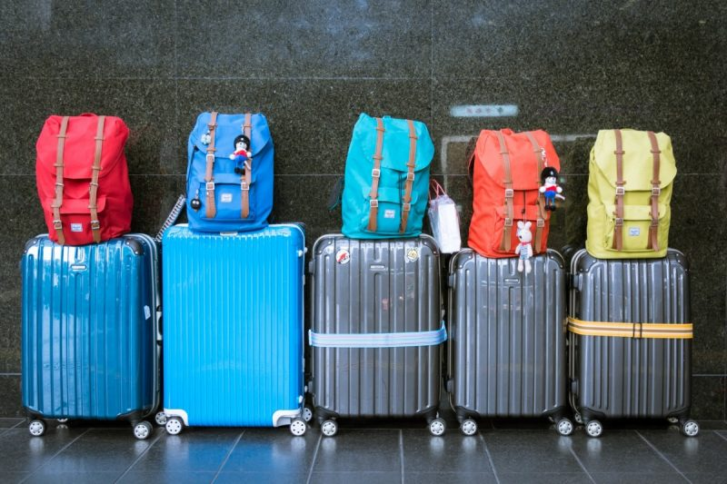 Rollaway suitcases lined up