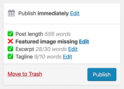 screenshot of the post validation box in the wordpress editor