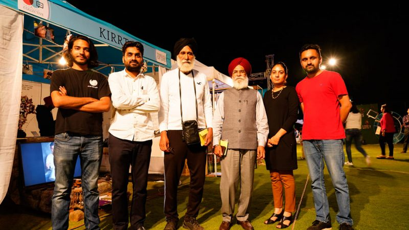 The Kirrt team with artist Avtarjeet Dhanjal and author Surjit Patar. Image via Satdeep Gill. Used with permission.