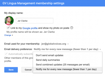 Screenshot of the membership settings on a google group