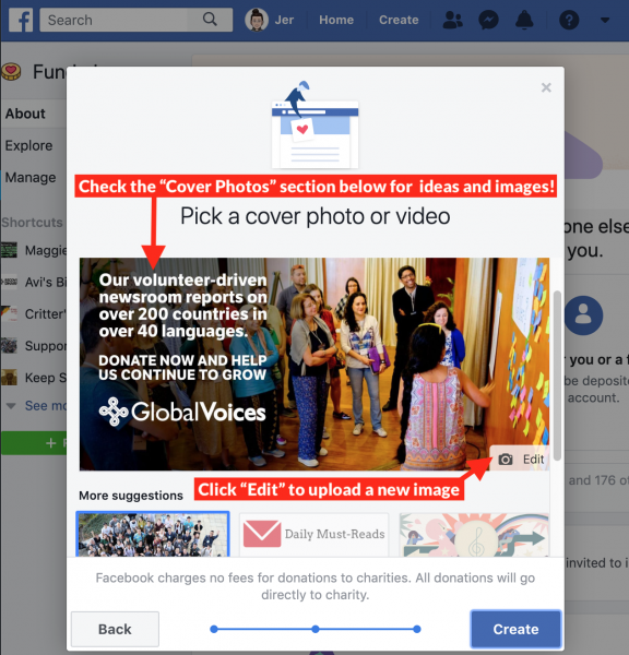 "screenshot of the ""Pick a cover photo or video"" options screen in facebook fundraiser setup, showing a nice promotional image for GV"