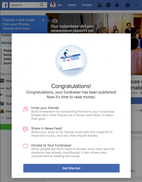 Facebook Fundraising successful setup message, congratulating you for creating a fundraiser and reminding you to complete the final steps (invite friends, share on your feed, make a donation)