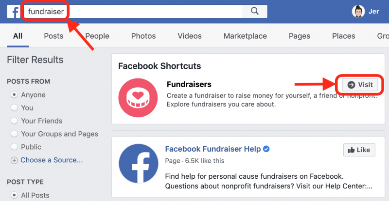 "screenshot of facebook with ""fundraiser"" in the search bar and the search result of ""Fundraisers"" showing, with the ""Visit"" button highlighted on the Fundraisers search result."