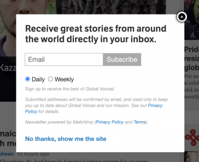 screenshot of the newsletter popup on GV English site
